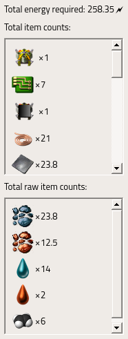 Recipe totals for construction robots.